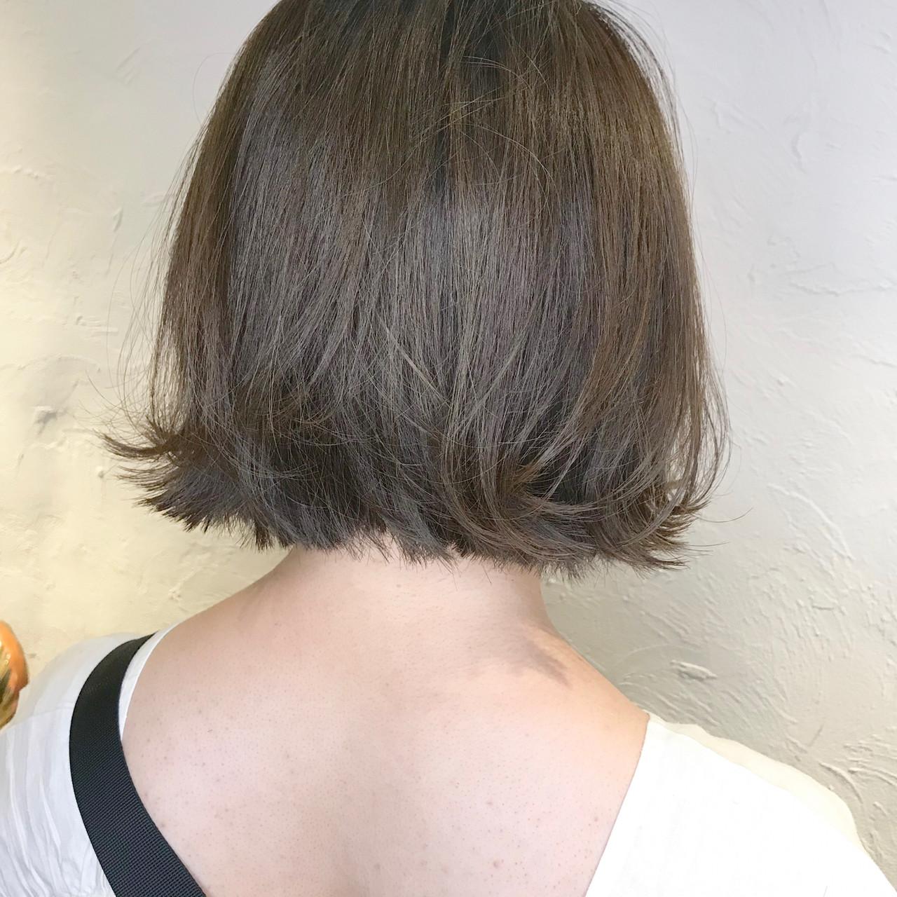 ナチュラル ヘアアレンジ ボブ ミントアッシュ ヘアスタイルや髪型の写真・画像