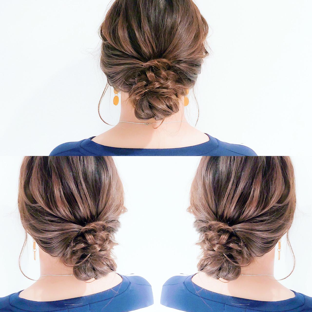 ロング 簡単ヘアアレンジ 三つ編み アップスタイル ヘアスタイルや髪型の写真・画像