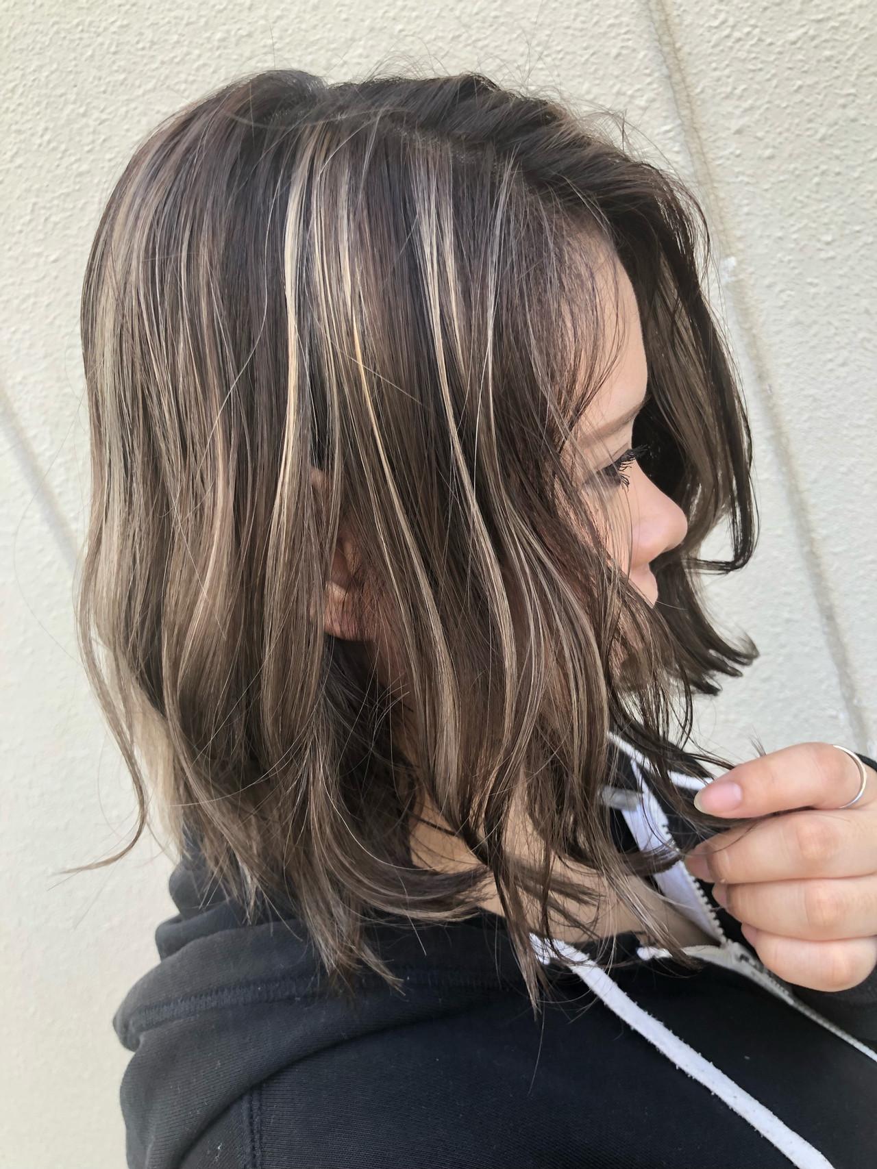 ボブ 外国人風カラー ハイライト グラデーションカラー ヘアスタイルや髪型の写真・画像