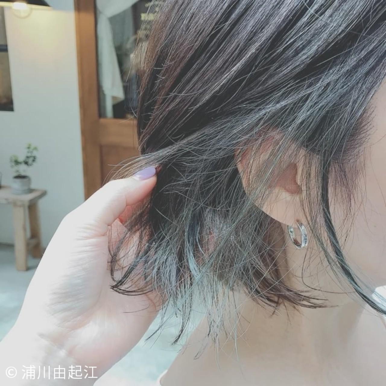 モード ゆるふわ 大人かわいい インナーカラー ヘアスタイルや髪型の写真・画像   浦川由起江 / nanon