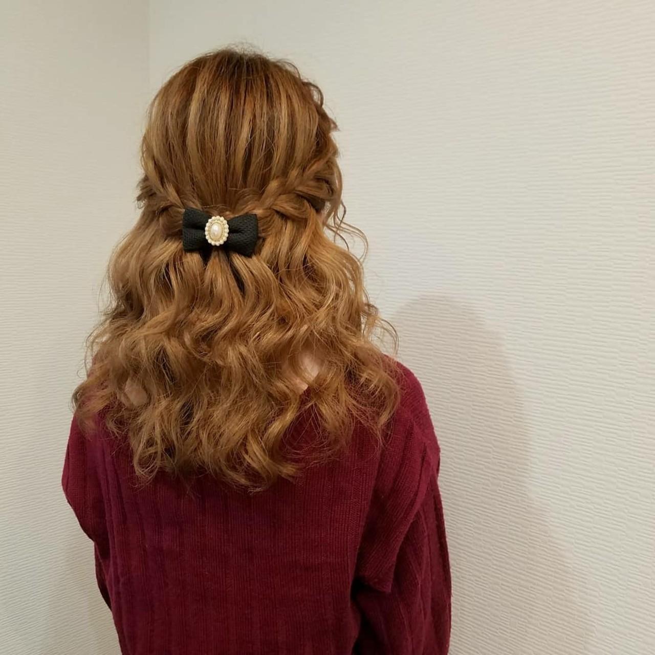 編み込み ハーフアップ ヘアアレンジ セミロング ヘアスタイルや髪型の写真・画像