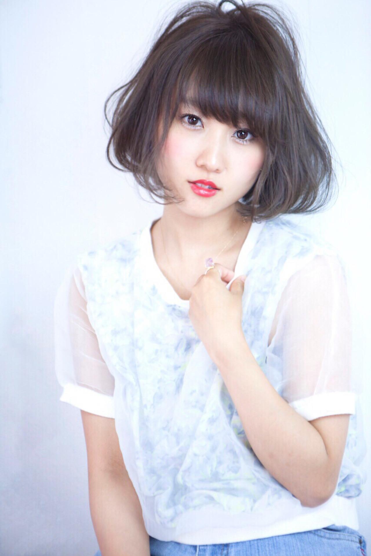 アッシュ ナチュラル デート ショートボブ ヘアスタイルや髪型の写真・画像 | Ayumi /