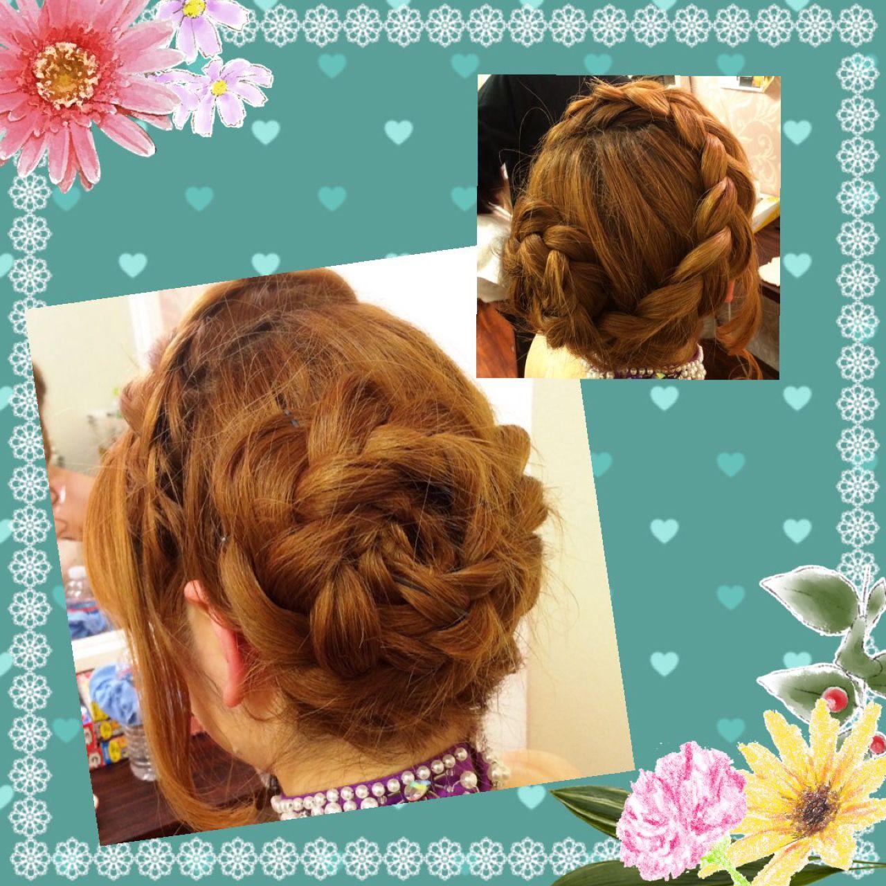 ヘアアレンジ ヘアアクセ コンサバ 三つ編み ヘアスタイルや髪型の写真・画像