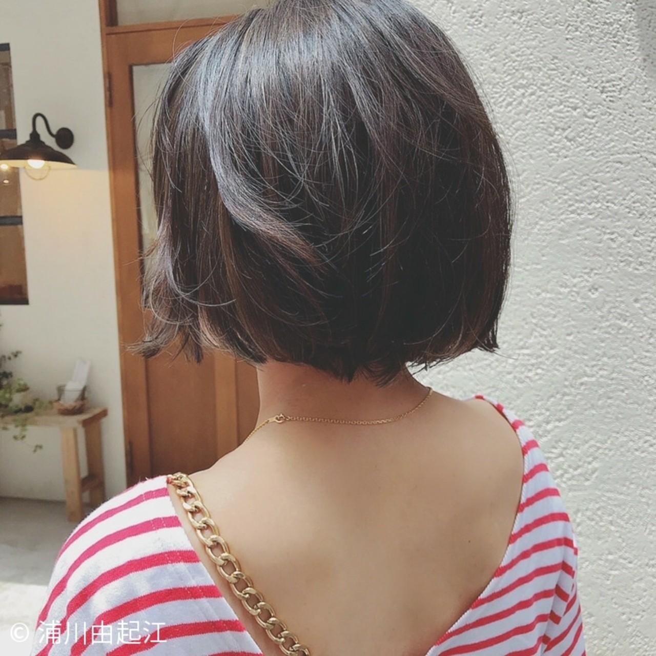 ボブ ハイライト 切りっぱなし 大人かわいい ヘアスタイルや髪型の写真・画像   浦川由起江 / nanon