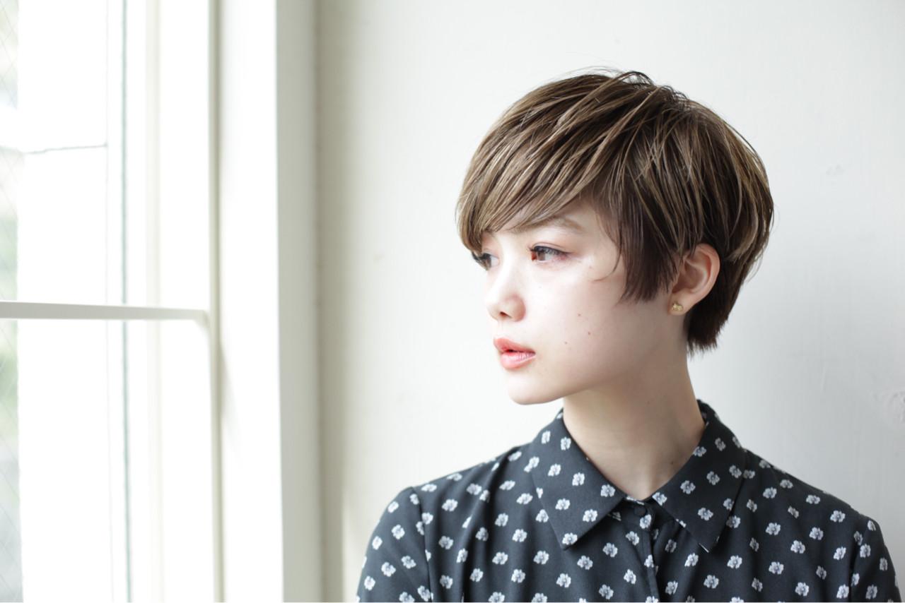 ショート ショートボブ 似合わせ 小顔 ヘアスタイルや髪型の写真・画像