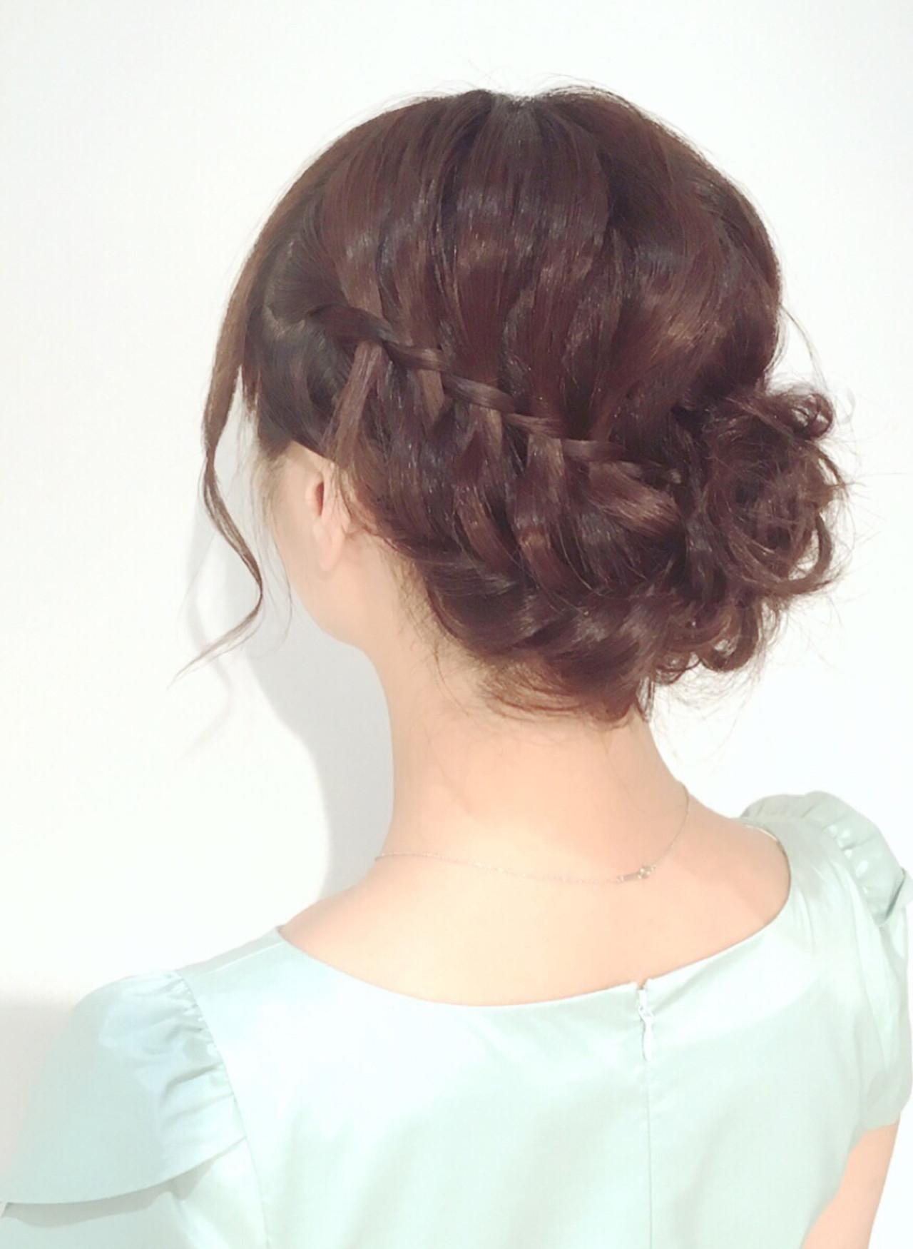二次会 ヘアアレンジ 編み込み アップスタイル ヘアスタイルや髪型の写真・画像