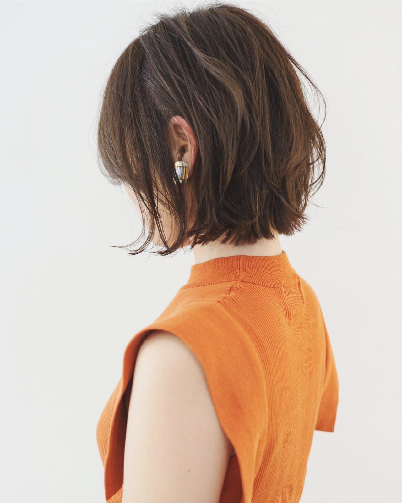 デート ボブ 抜け感 外ハネボブ ヘアスタイルや髪型の写真・画像