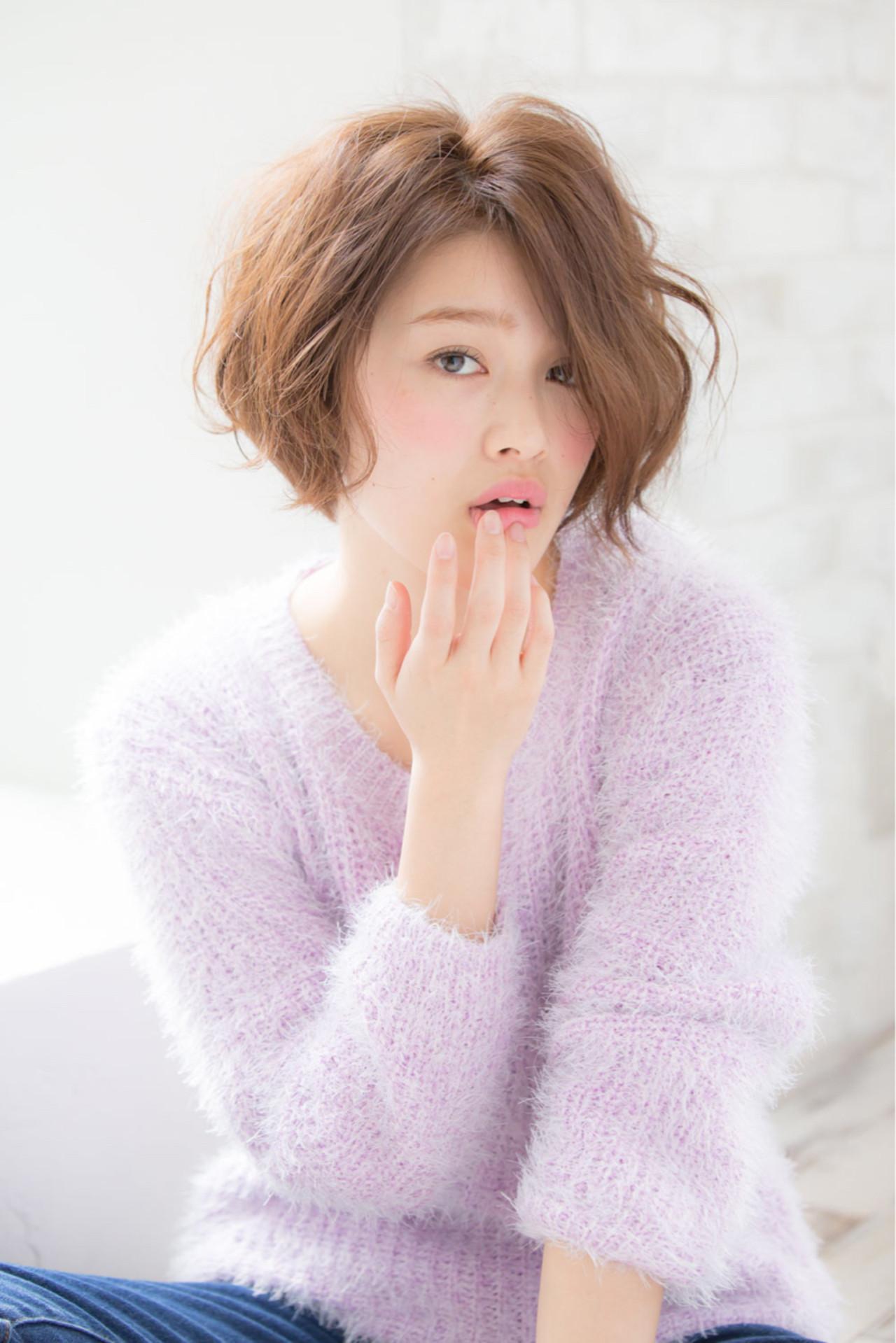 簡単 パーマ 似合わせ ショート ヘアスタイルや髪型の写真・画像 | 赤井希望 / joemibyUnami