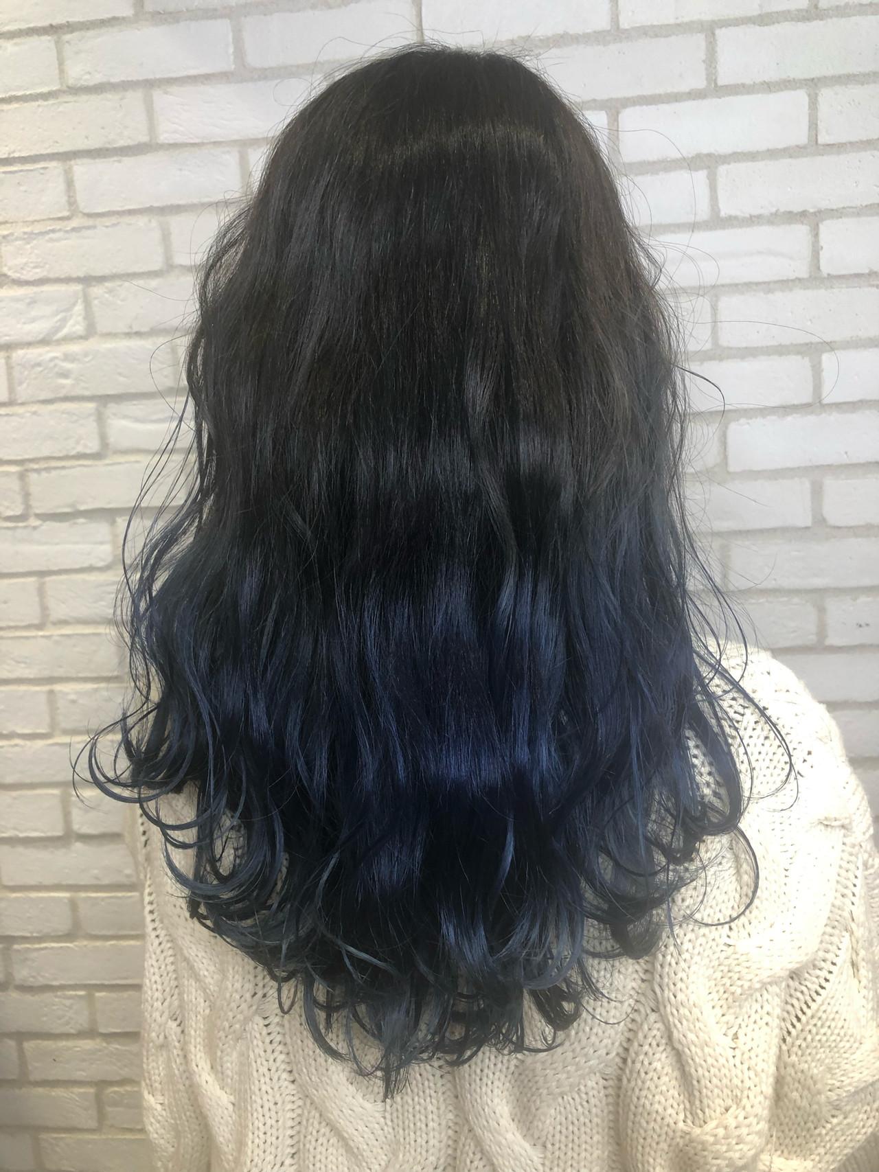 ロング ブルー モード ハイライト ヘアスタイルや髪型の写真・画像