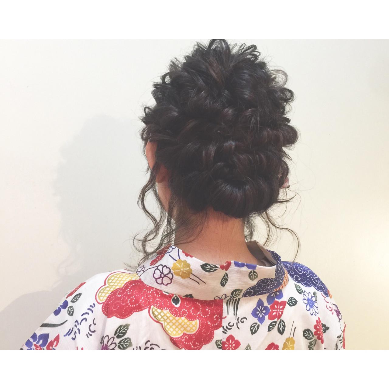 まとめ髪 編み込み 花火大会 セミロング ヘアスタイルや髪型の写真・画像