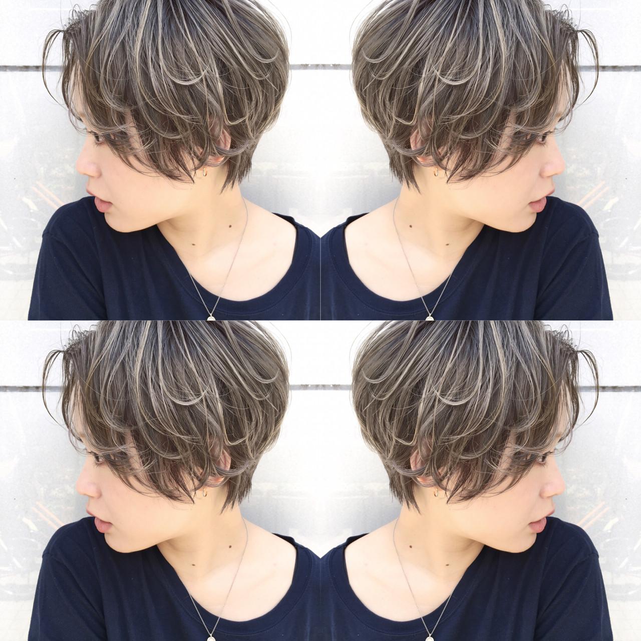 雨の日 アンニュイ ハイライト ショート ヘアスタイルや髪型の写真・画像 | 長谷川 龍太 / hair design tea