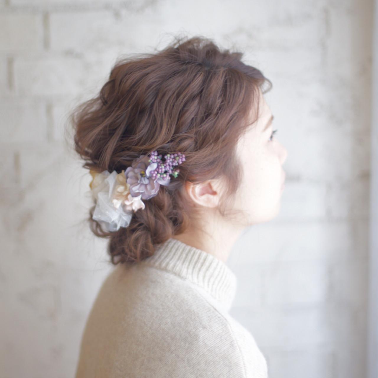 簡単ヘアアレンジ セミロング 大人かわいい 結婚式 ヘアスタイルや髪型の写真・画像 | 谷本将太 nalu hair / nalu hair  (ナルーヘアー)