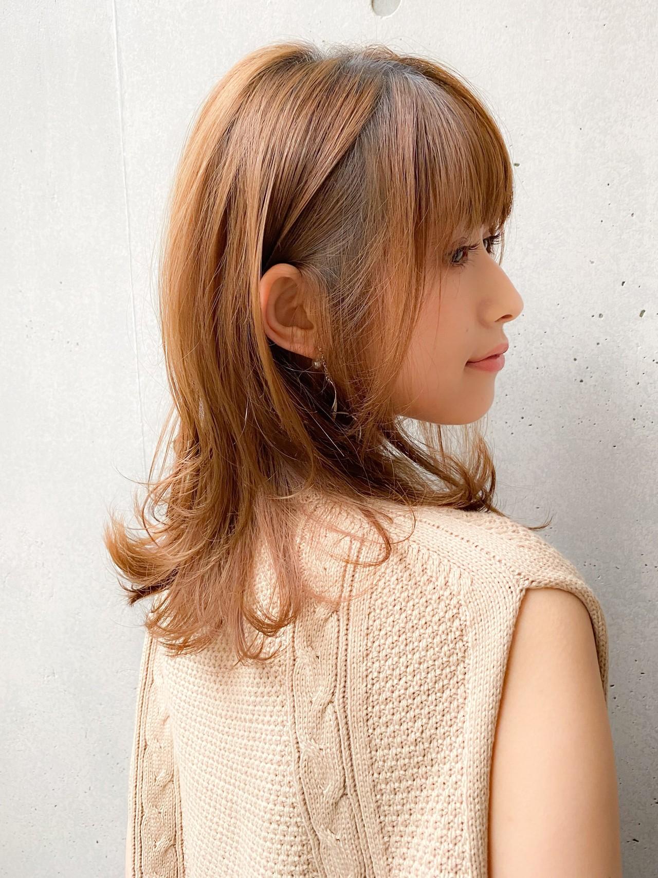 外ハネ 前髪あり ナチュラル デジタルパーマ ヘアスタイルや髪型の写真・画像 | 宮崎陽平/Agnos青山 / Agnos青山