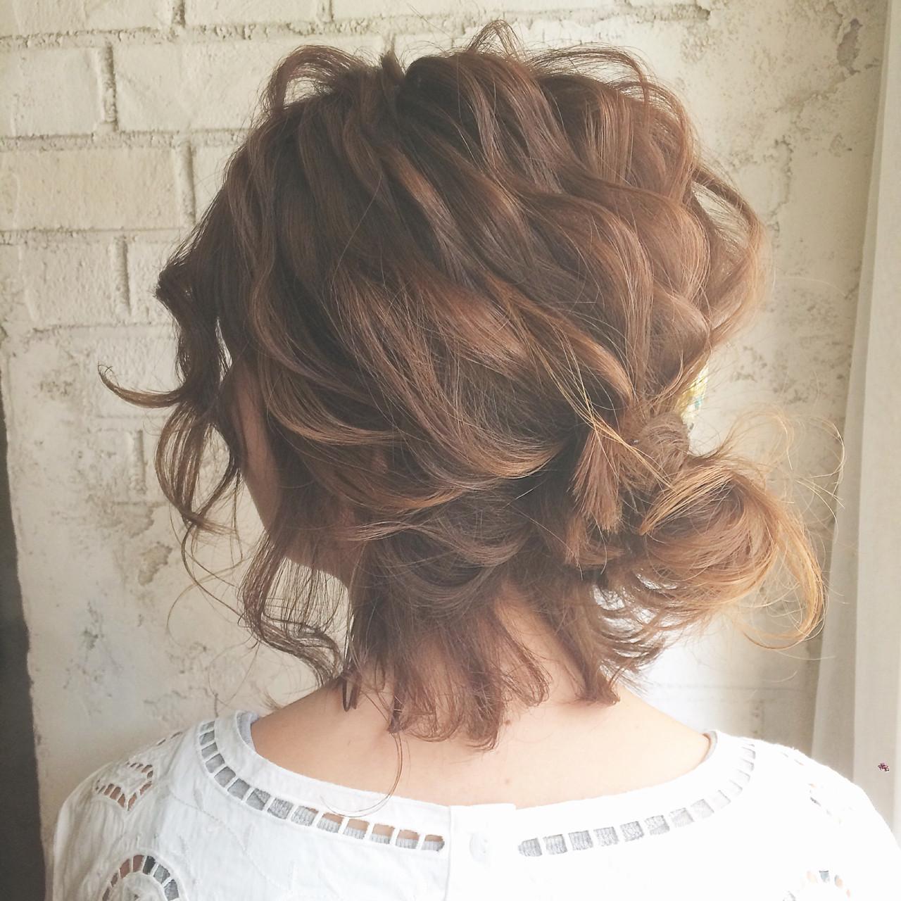 ヘアアレンジ ボブ ハーフアップ 大人女子 ヘアスタイルや髪型の写真・画像