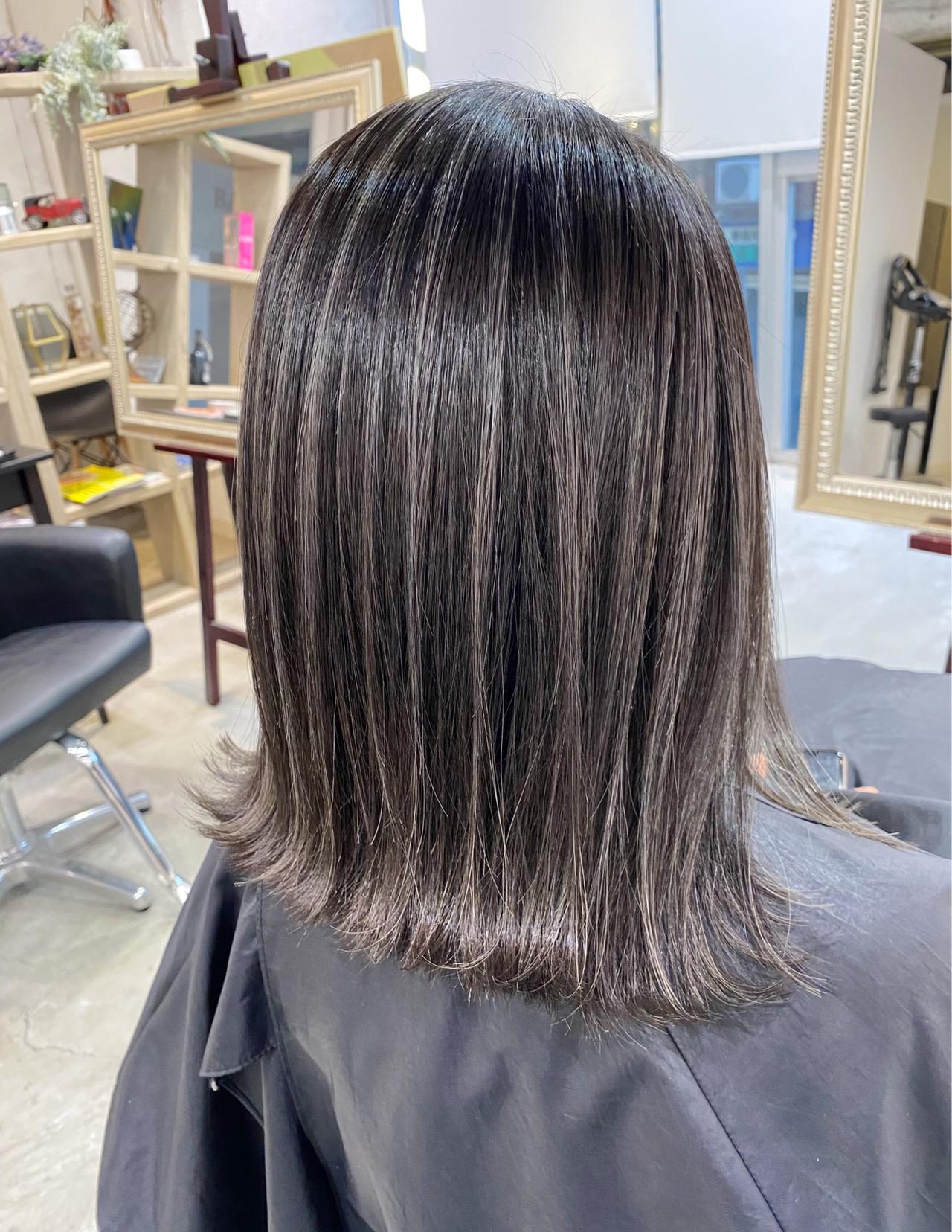 ミニボブ ハイライト 極細ハイライト ボブ ヘアスタイルや髪型の写真・画像 | 寺坂 雄飛 / banks hair