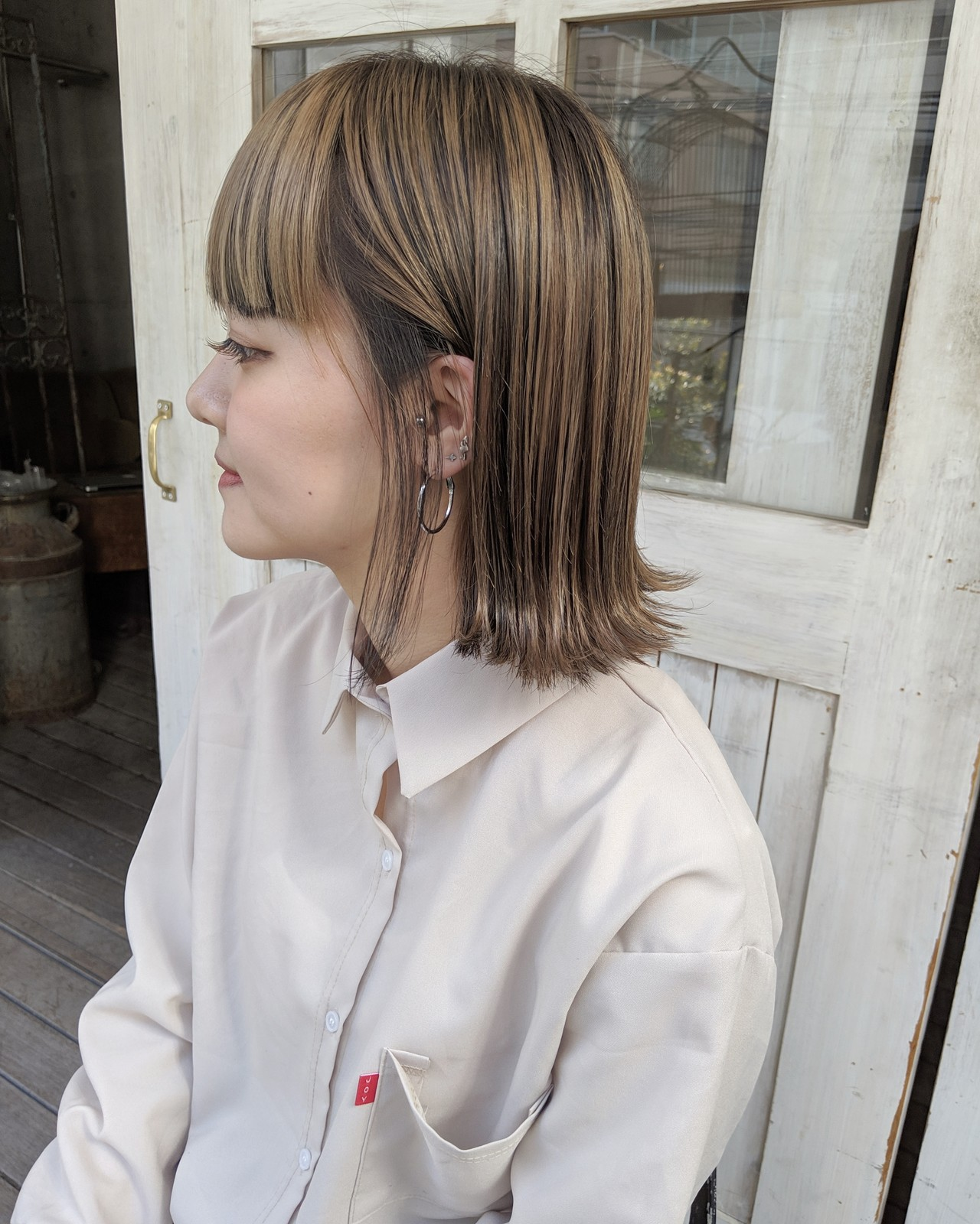 ハイライト ローライト インナーカラー ボブ ヘアスタイルや髪型の写真・画像
