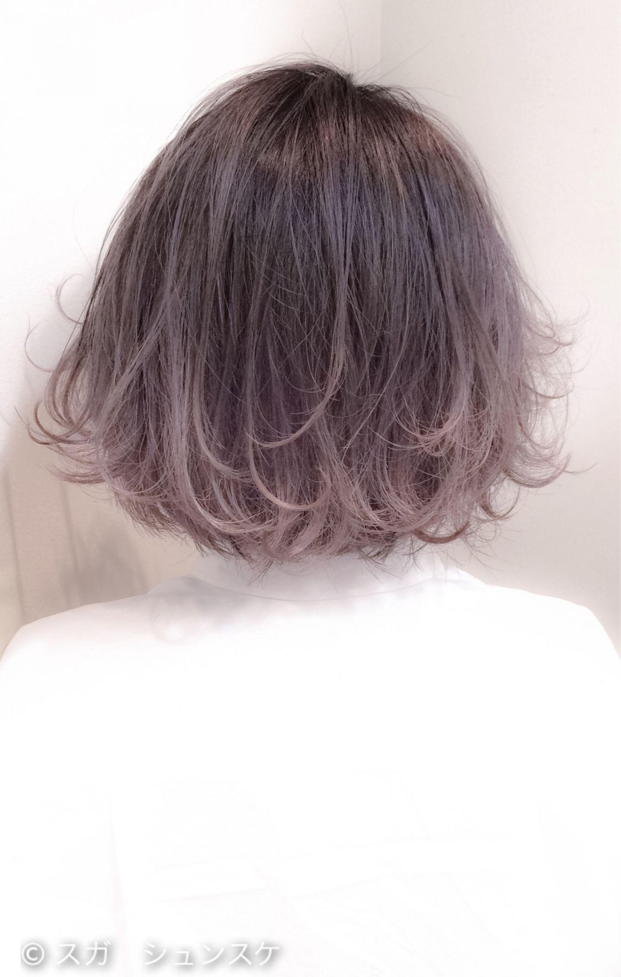 バイオレットアッシュ アッシュ ボブ グラデーションカラー ヘアスタイルや髪型の写真・画像