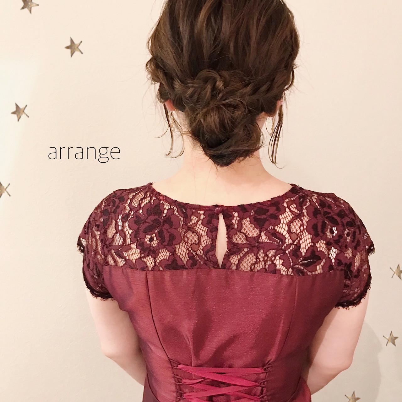 ヘアアレンジ 結婚式 ゆるナチュラル セミロング ヘアスタイルや髪型の写真・画像