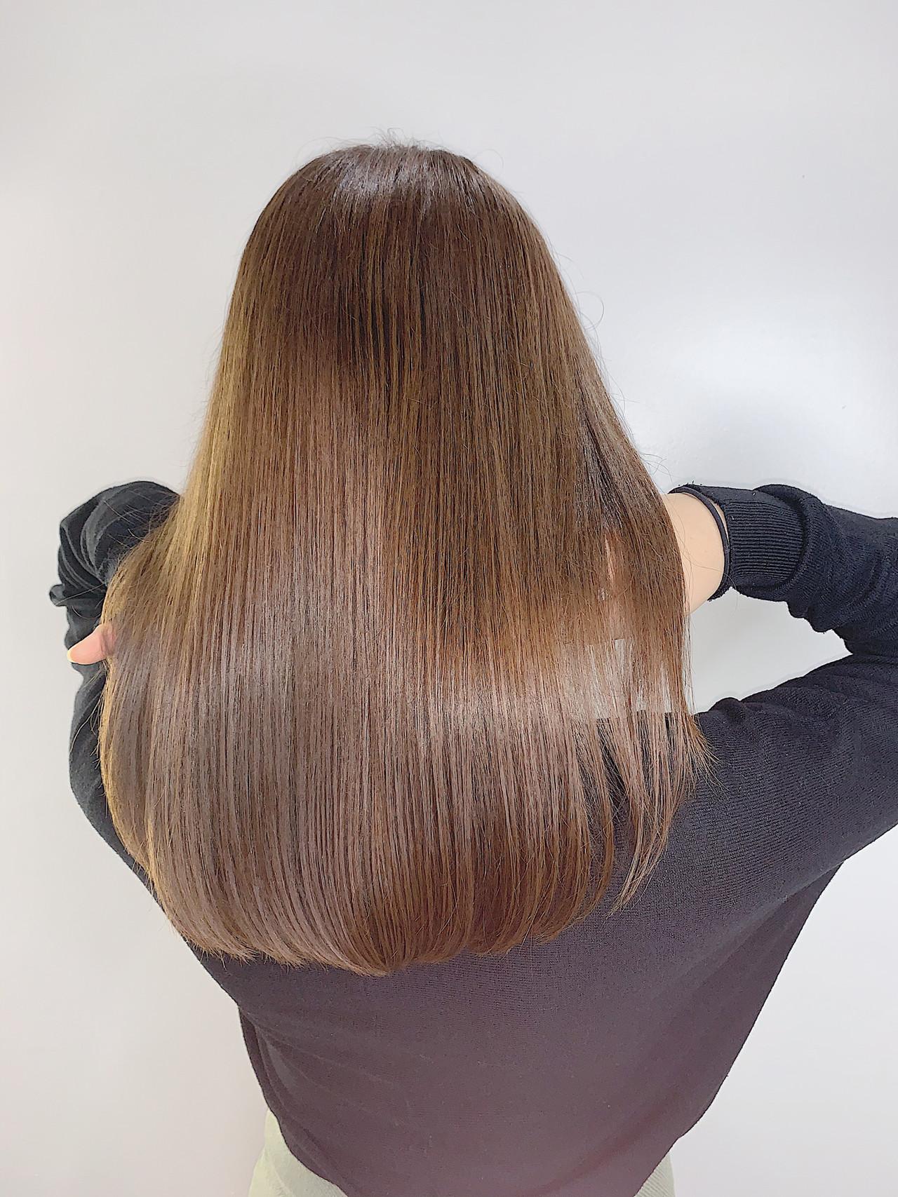 セミロング モテ髪 ナチュラル ミルクティーベージュ ヘアスタイルや髪型の写真・画像