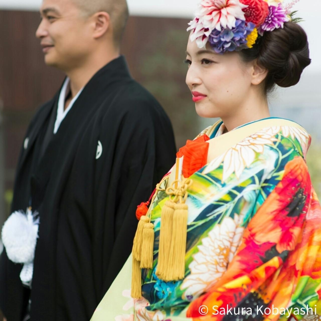 ヘアアレンジ 和装 セミロング モード ヘアスタイルや髪型の写真・画像 | Sakura Kobayashi / SABO hair salon