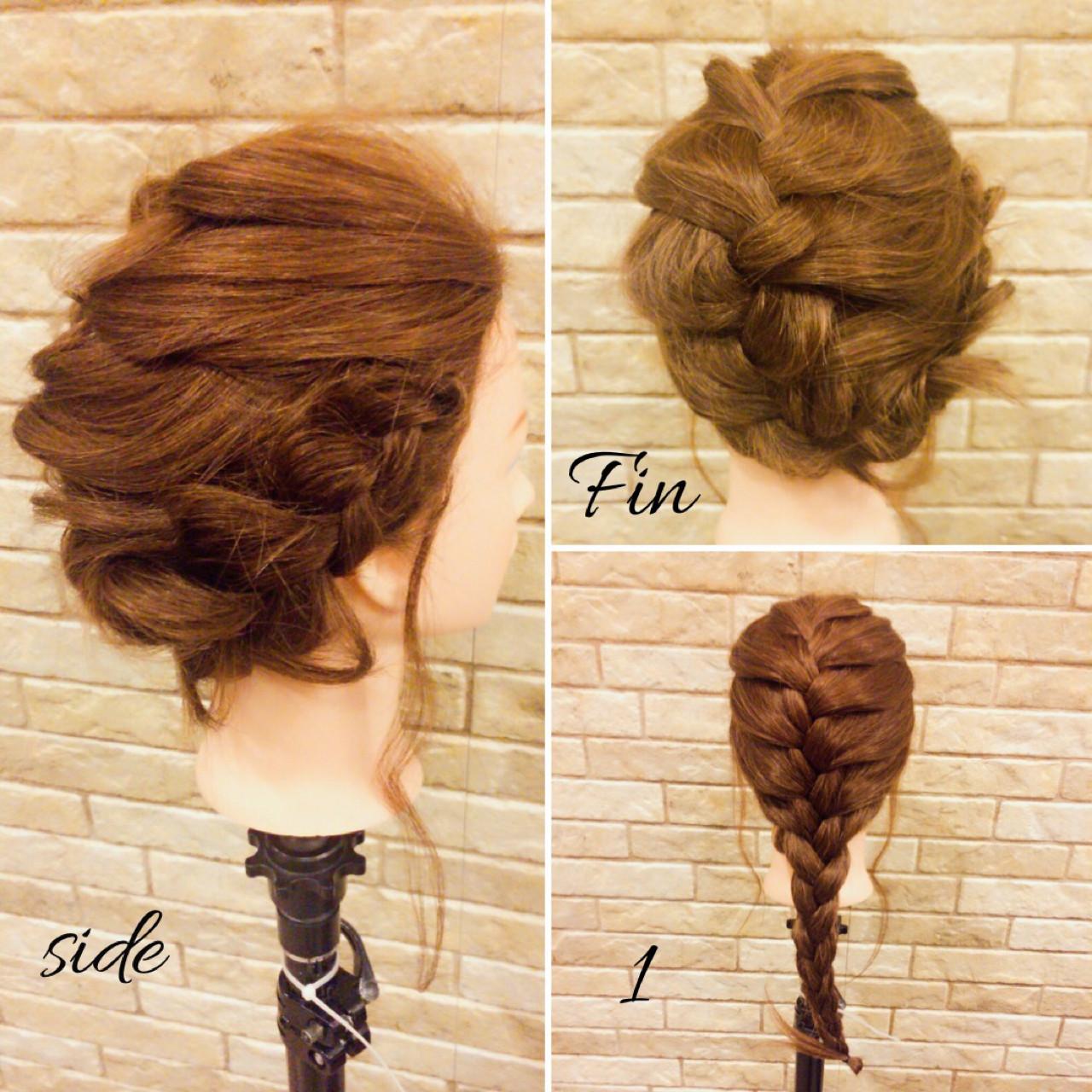 ヘアアレンジ 編み込み フェミニン ナチュラル ヘアスタイルや髪型の写真・画像