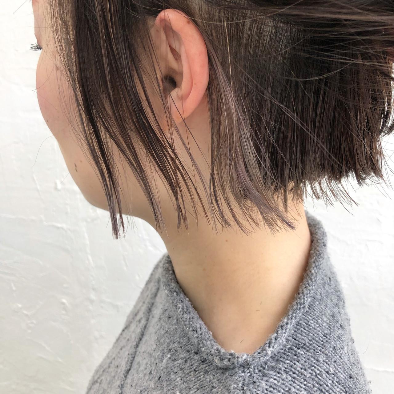 ボブ ストリート ハイライト クリーミーカラー ヘアスタイルや髪型の写真・画像