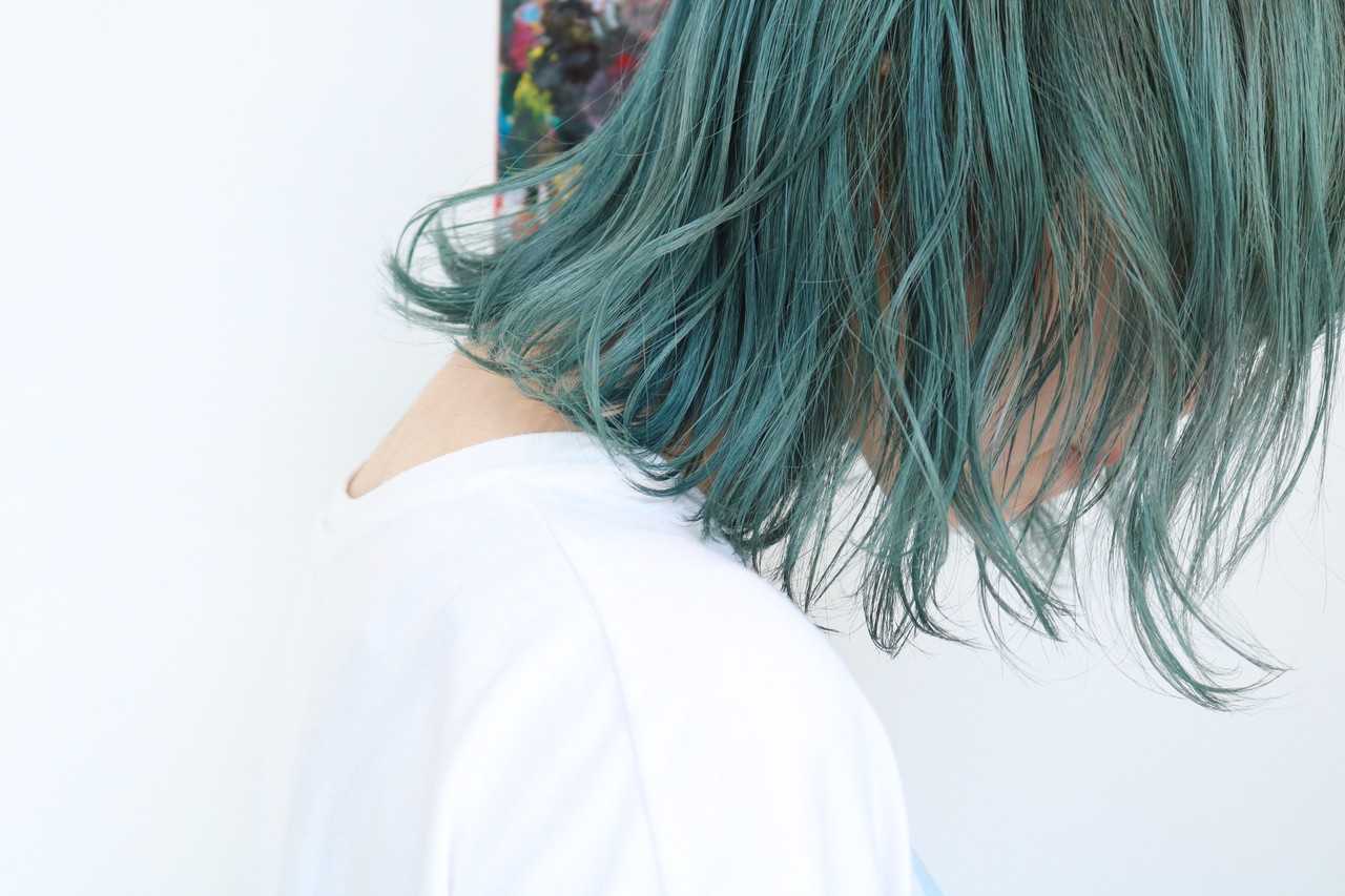 ブルージュ ボブ ブルー ブルーアッシュ ヘアスタイルや髪型の写真・画像