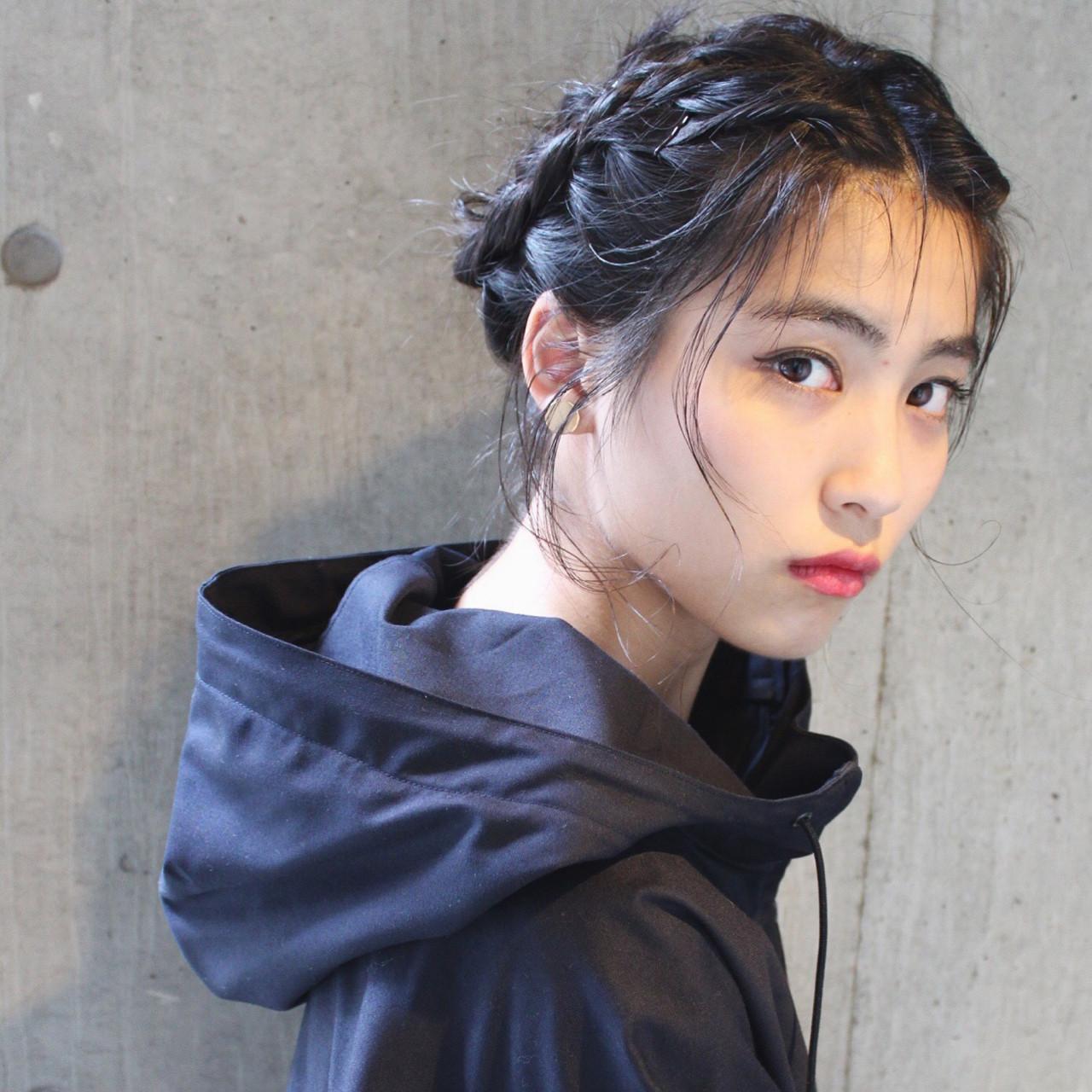 黒髪 簡単ヘアアレンジ ハーフアップ ミディアム ヘアスタイルや髪型の写真・画像