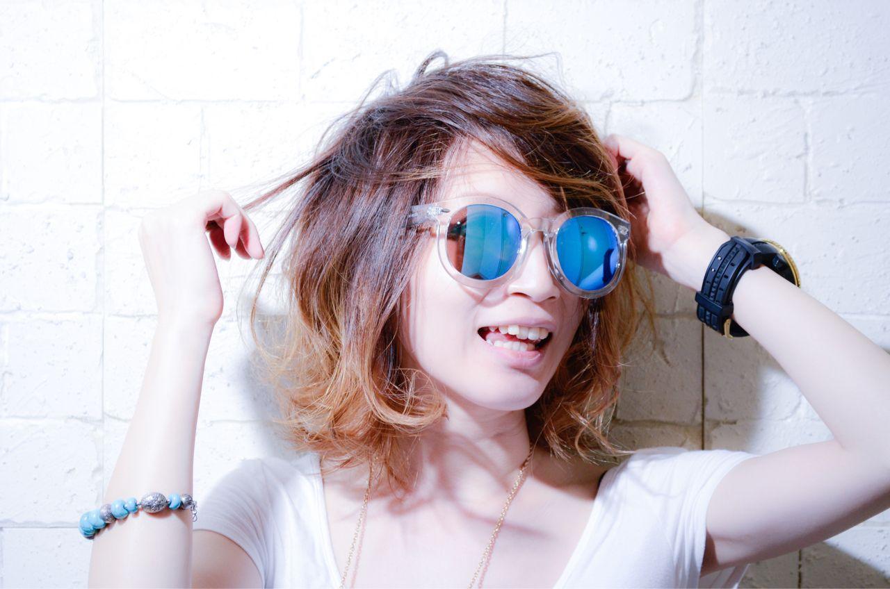 かわいい 外ハネ インナーカラー ボブ ヘアスタイルや髪型の写真・画像 | 宇渡 裕一 / Lillie hair&spa