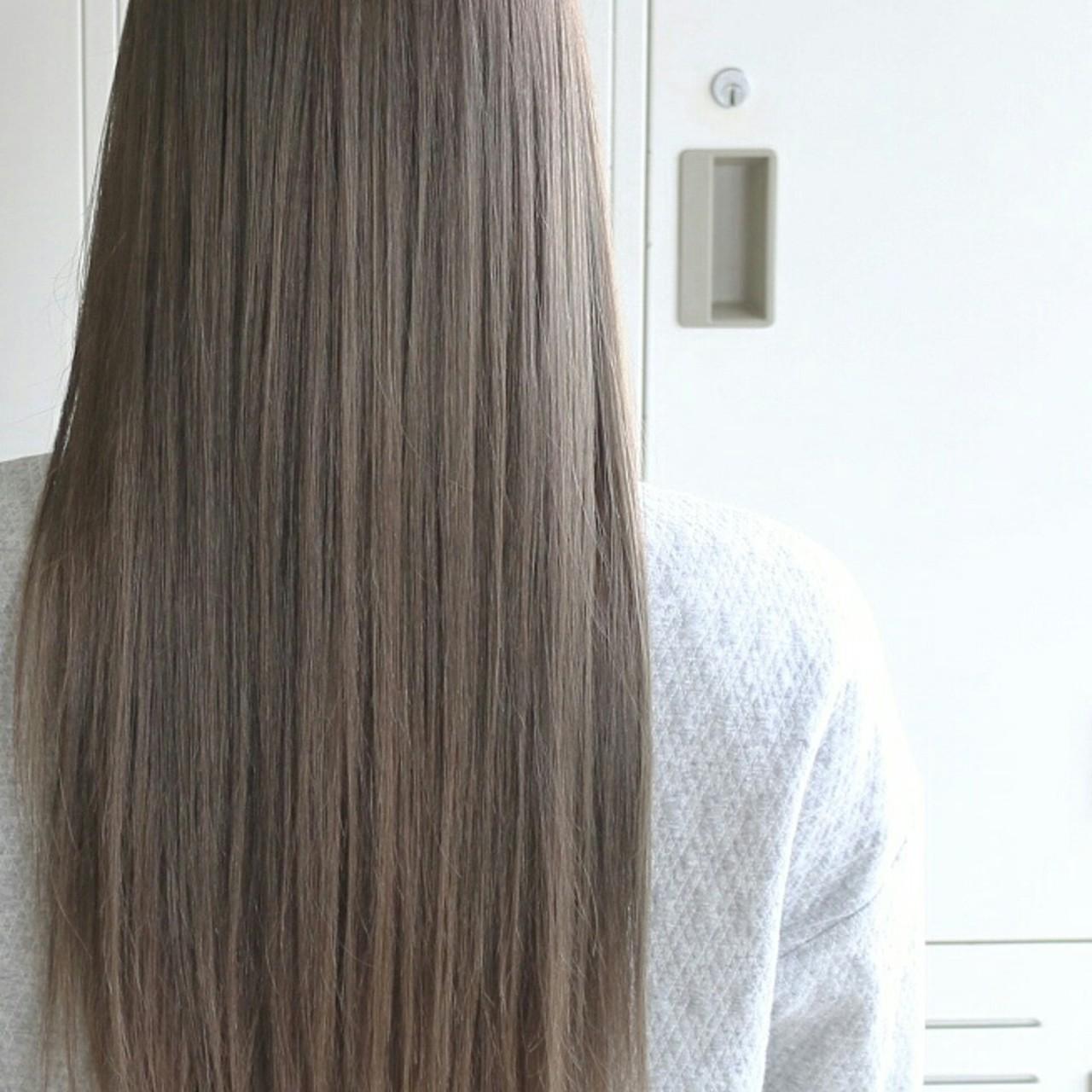 ロング 大人かわいい エレガント アッシュ ヘアスタイルや髪型の写真・画像 | 五嶋治紀 / BORDER.hair
