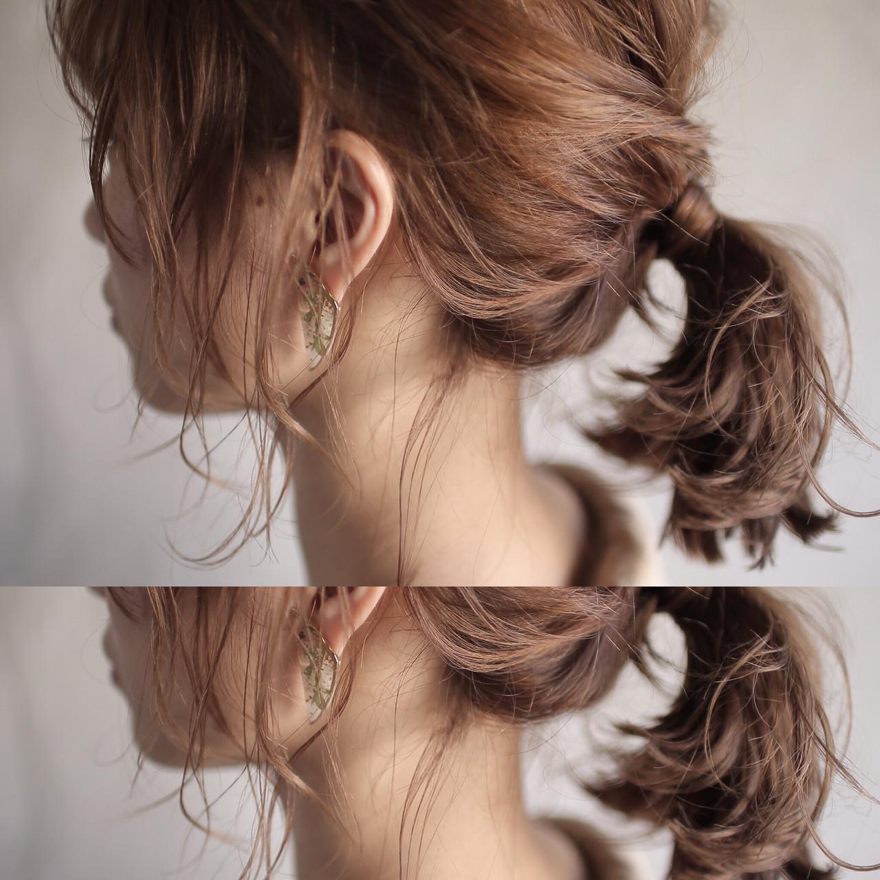 ミディアム ポニーテールアレンジ 外ハネ セルフアレンジ ヘアスタイルや髪型の写真・画像