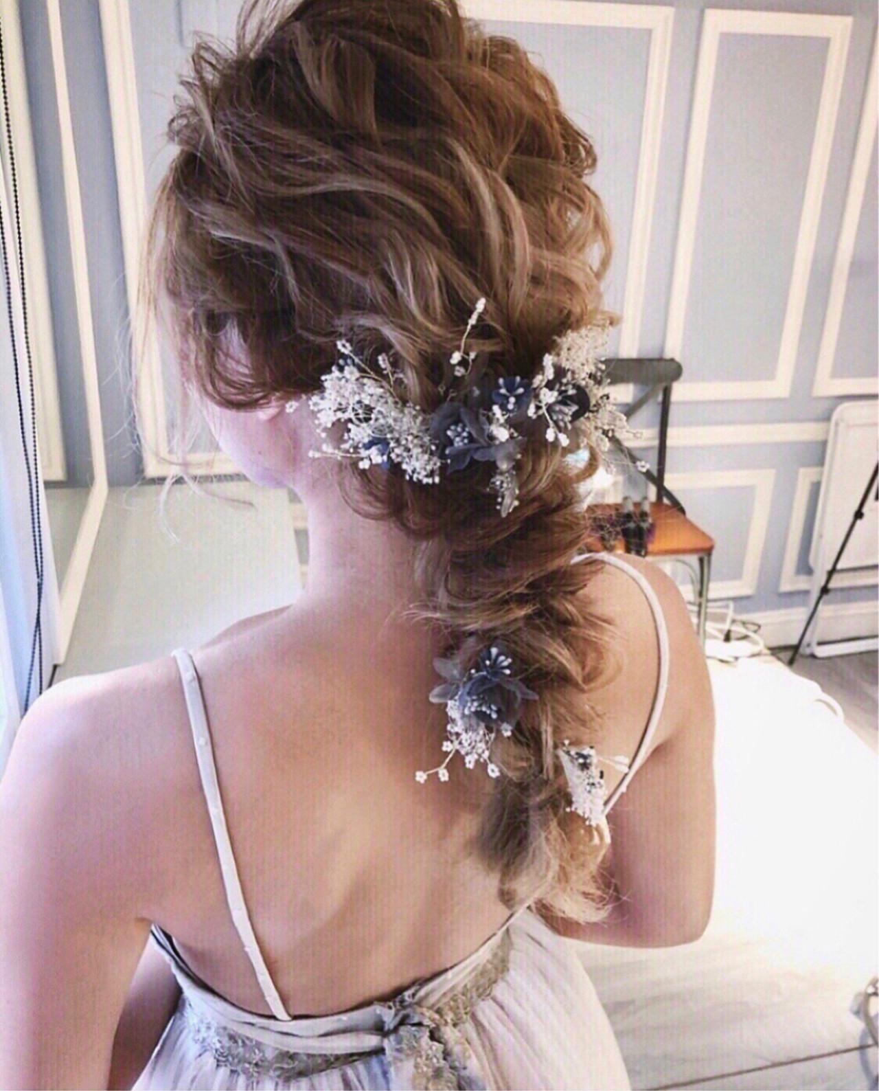 ヘアアレンジ 女子力 ゆるふわ 結婚式 ヘアスタイルや髪型の写真・画像 | tomoya tamada / Bridal hairmake