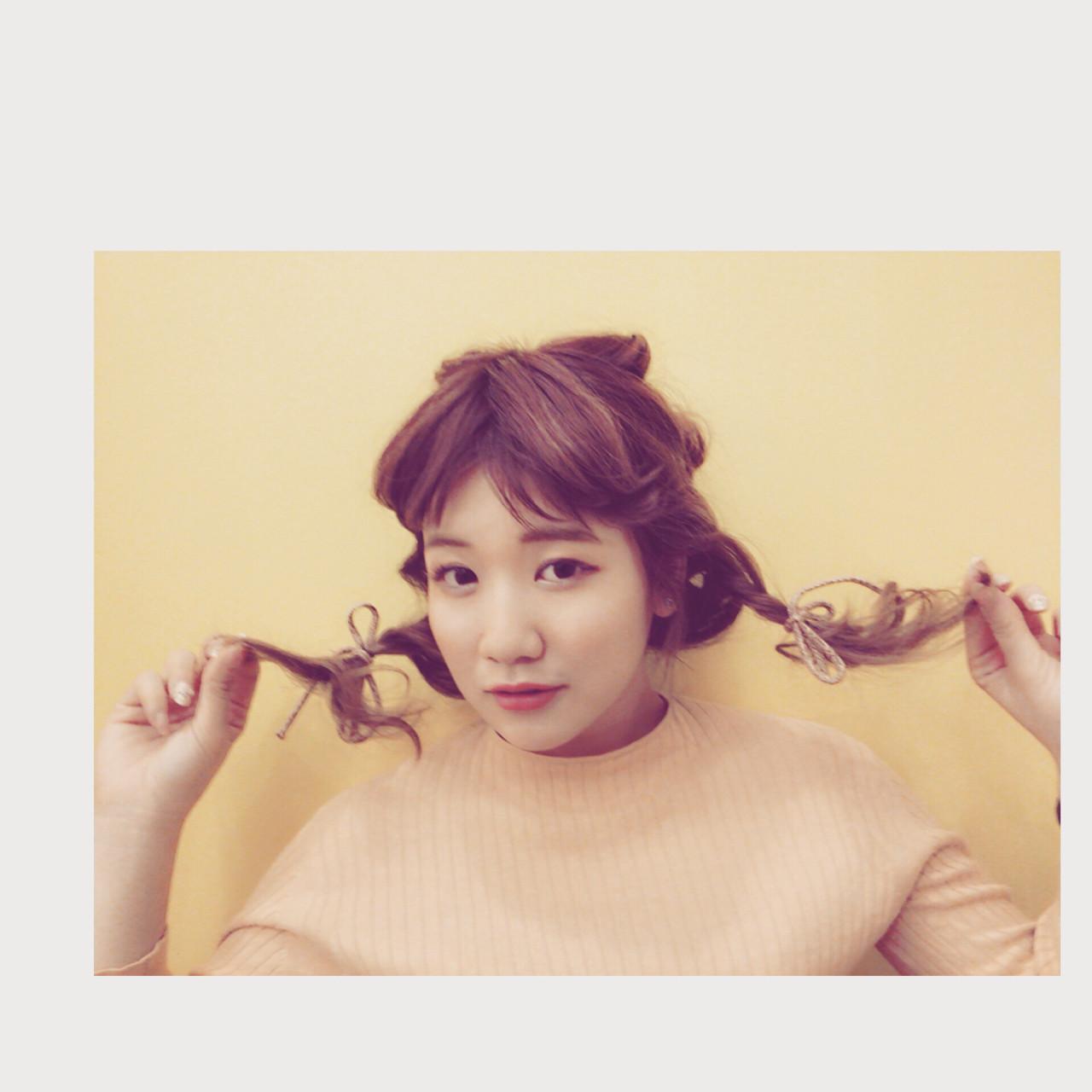 フェミニン セミロング ショート 簡単ヘアアレンジ ヘアスタイルや髪型の写真・画像