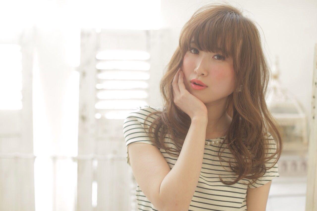 春 モテ髪 セミロング フェミニン ヘアスタイルや髪型の写真・画像