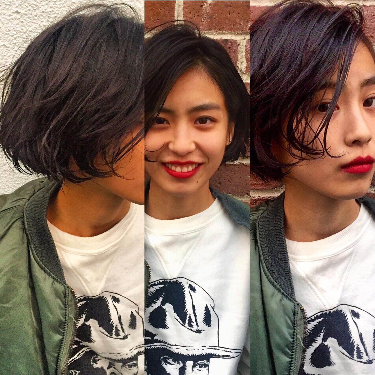 外ハネ ボブ パーマ 黒髪 ヘアスタイルや髪型の写真・画像 | bibito crew / bibito