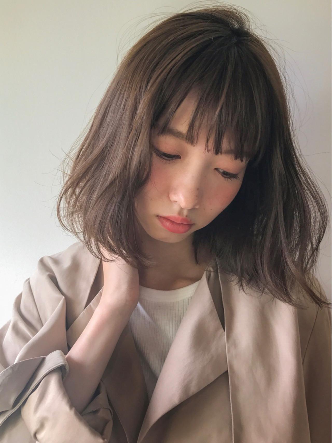 透明感 大人かわいい ミディアム 秋 ヘアスタイルや髪型の写真・画像
