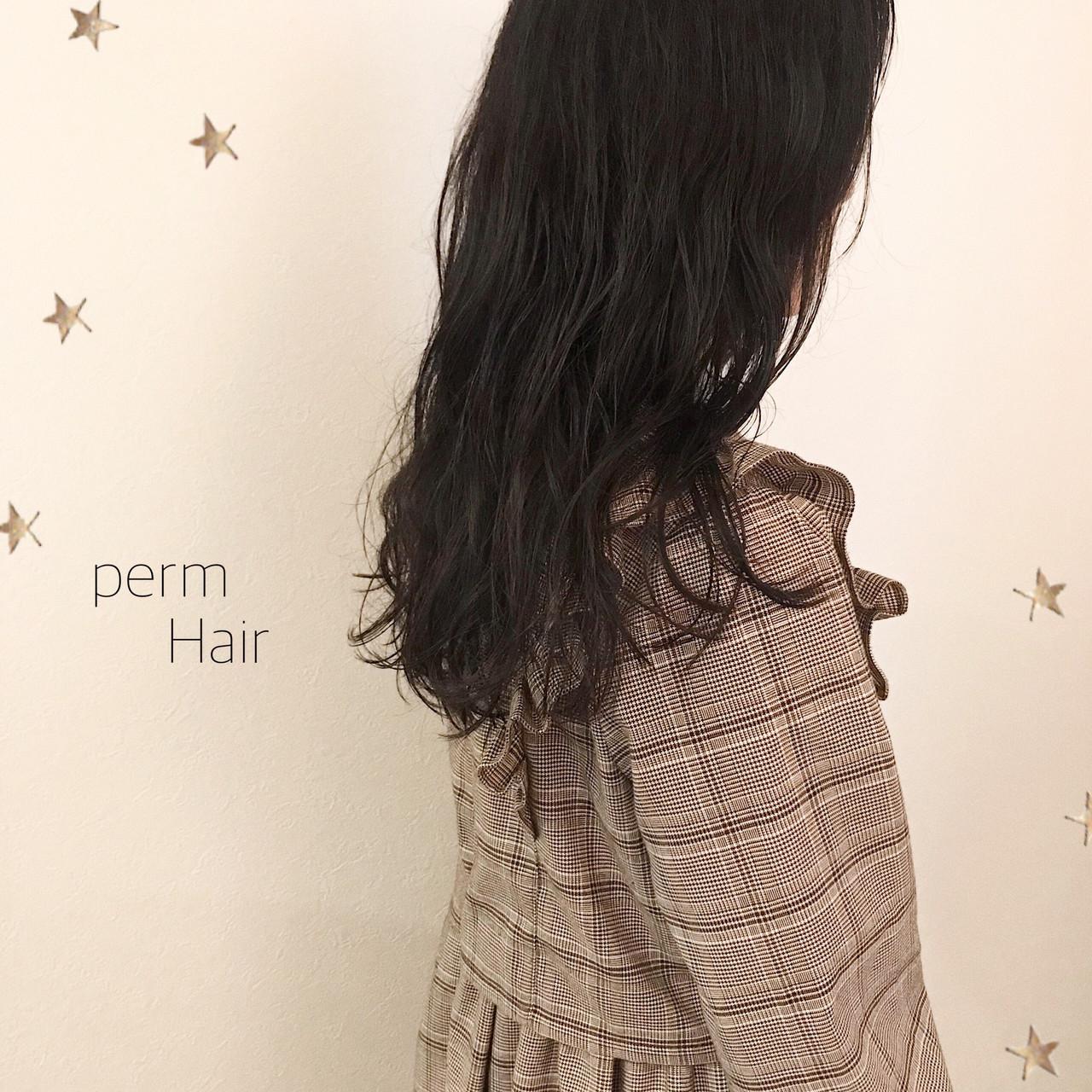 パーマ ゆるナチュラル ナチュラル ゆる巻き ヘアスタイルや髪型の写真・画像