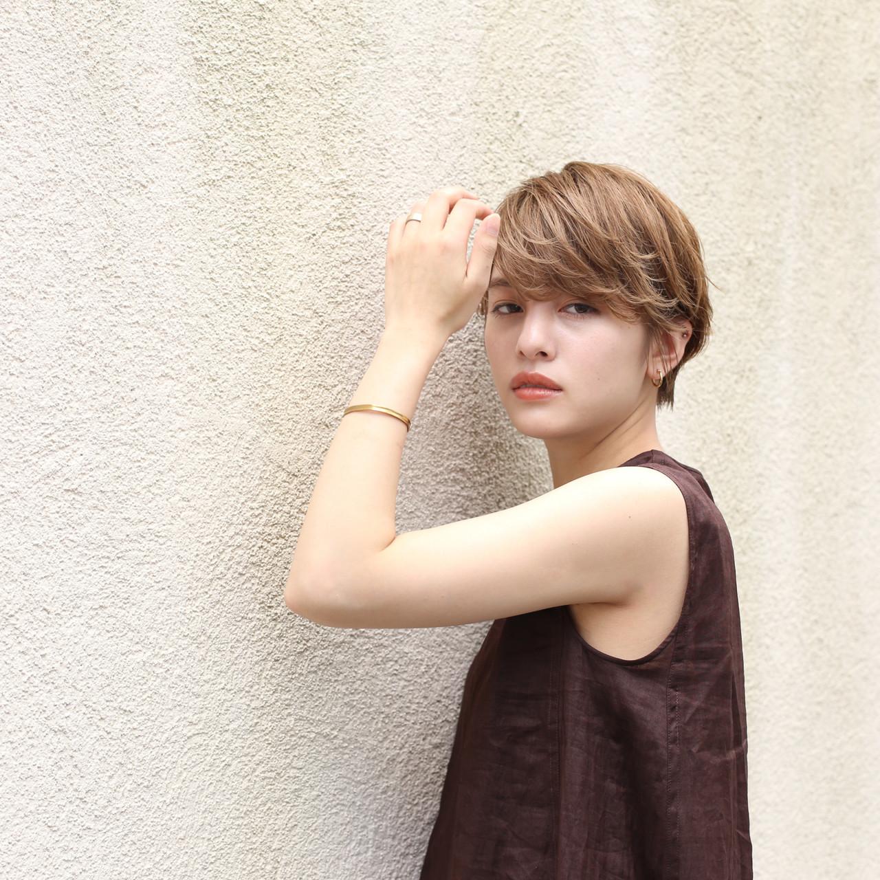 デート 簡単ヘアアレンジ ナチュラル ハンサムショート ヘアスタイルや髪型の写真・画像