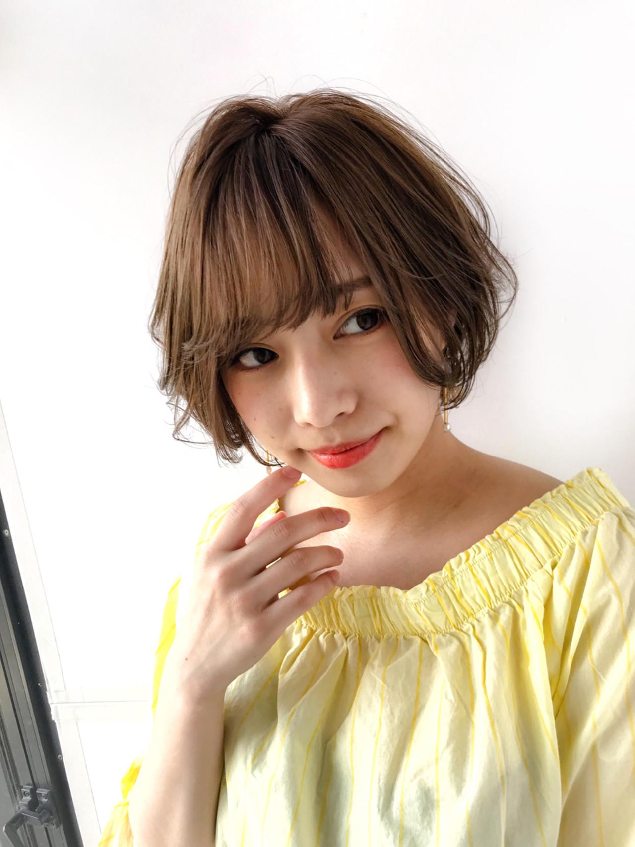 ショート 大人かわいい 前髪あり 大人女子 ヘアスタイルや髪型の写真・画像 | MANOHARU 新屋敷 / MANOHARU