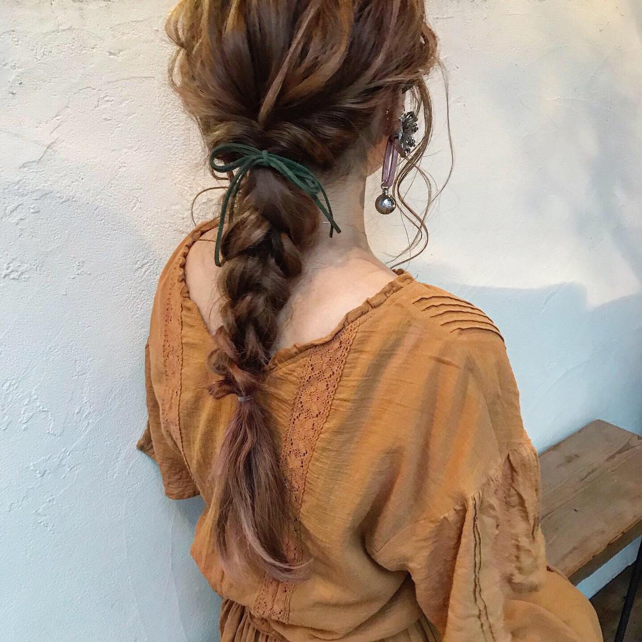 ガーリー 結婚式 簡単ヘアアレンジ ピンク ヘアスタイルや髪型の写真・画像