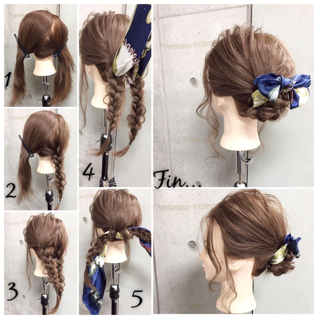簡単ヘアアレンジ ショート セミロング ヘアアクセ ヘアスタイルや髪型の写真・画像