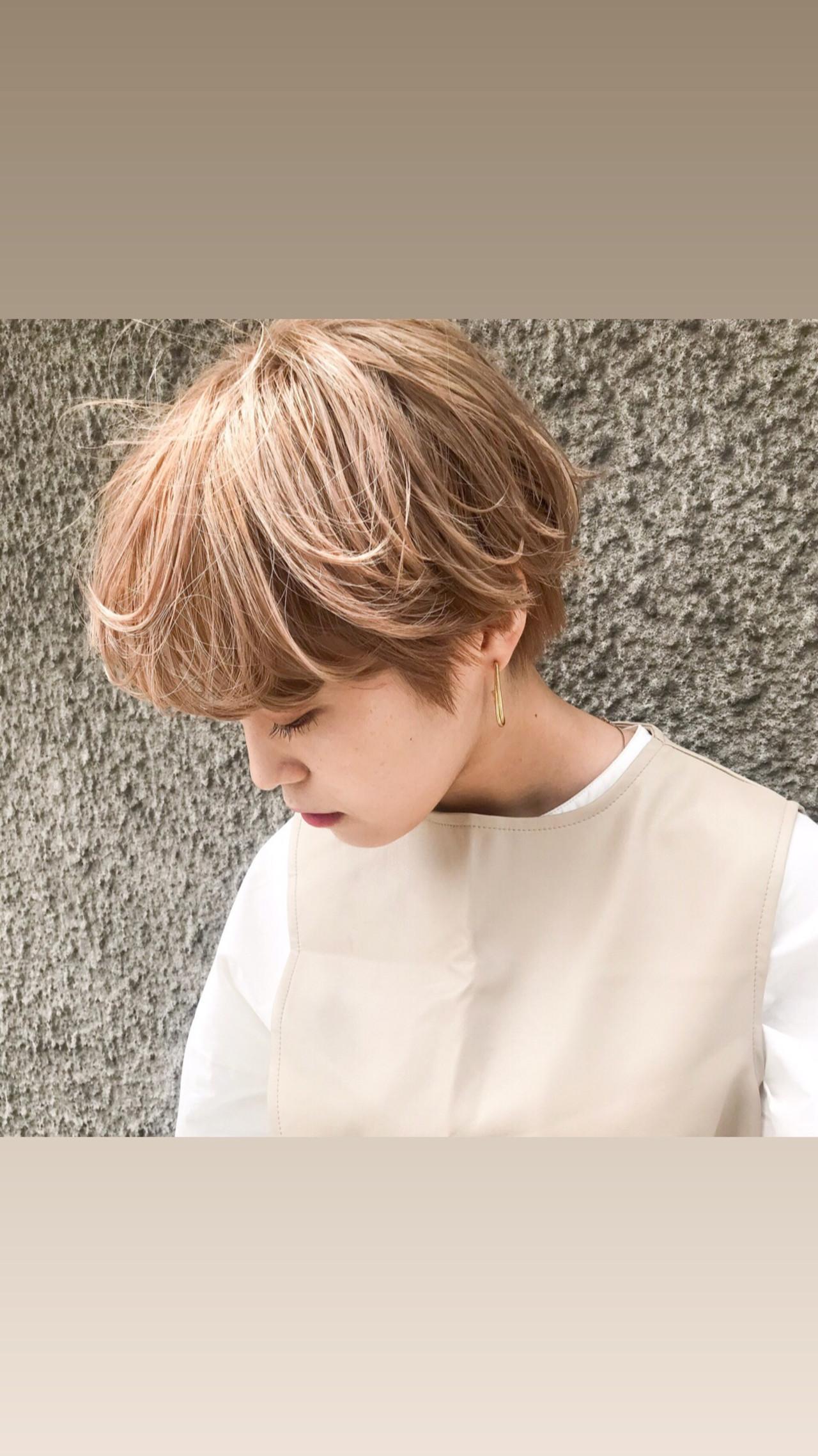外国人風 ショート ハイトーンカラー 透明感カラー ヘアスタイルや髪型の写真・画像