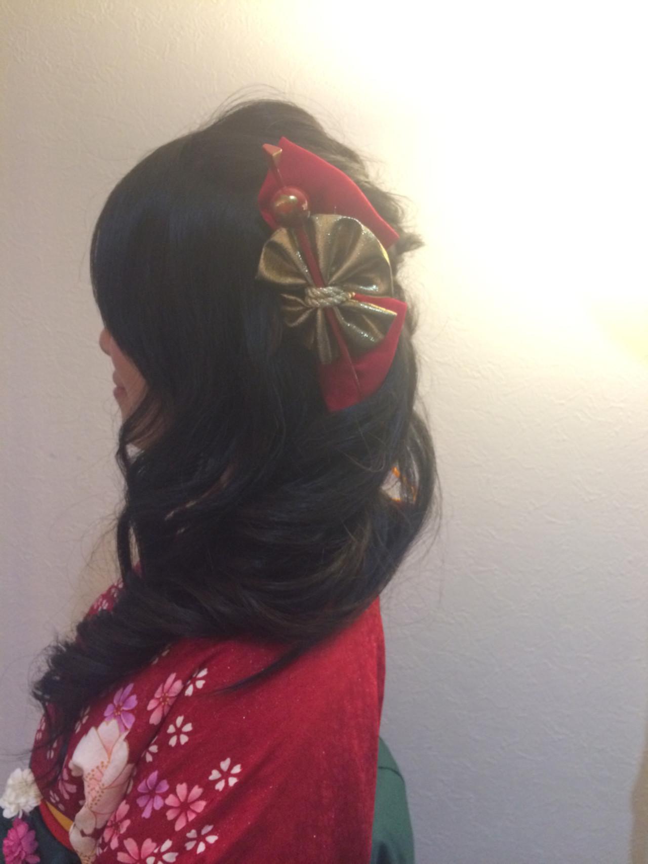 ヘアアレンジ ロング 着物 謝恩会 ヘアスタイルや髪型の写真・画像 | タバタマサト / animi hair make (アニミー ヘアー メイク)