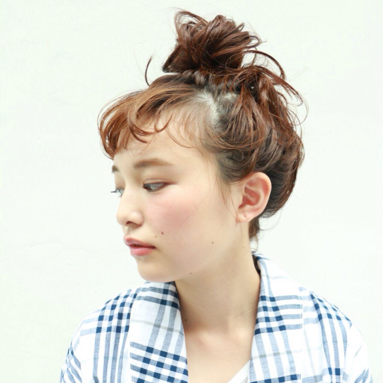 パンク お団子 ショート ストリート ヘアスタイルや髪型の写真・画像
