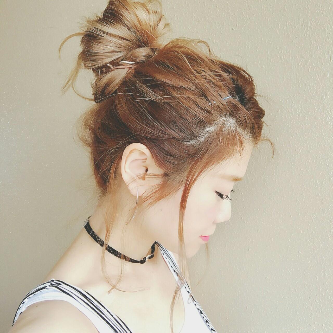 涼しげ 色気 お団子 ハイライト ヘアスタイルや髪型の写真・画像 | 浦川由起江 / nanon