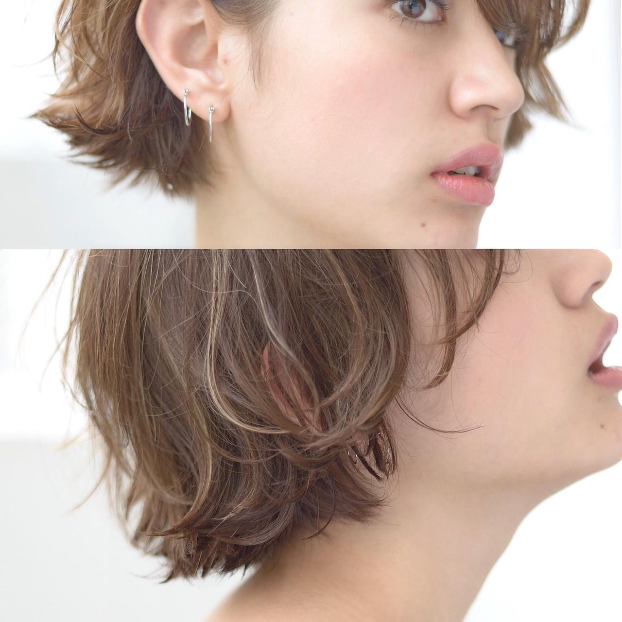 ボブ  毛先パーマ ショート ヘアスタイルや髪型の写真・画像