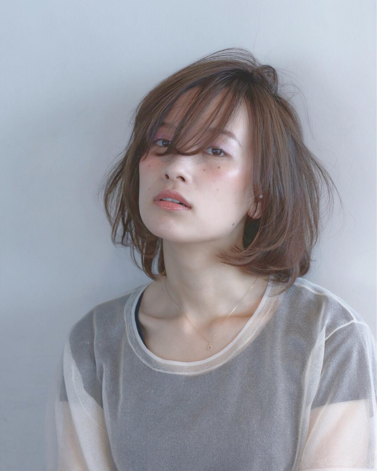前髪あり ボブ ゆるふわ ミディアム ヘアスタイルや髪型の写真・画像   菅 孝太郎 / andrey