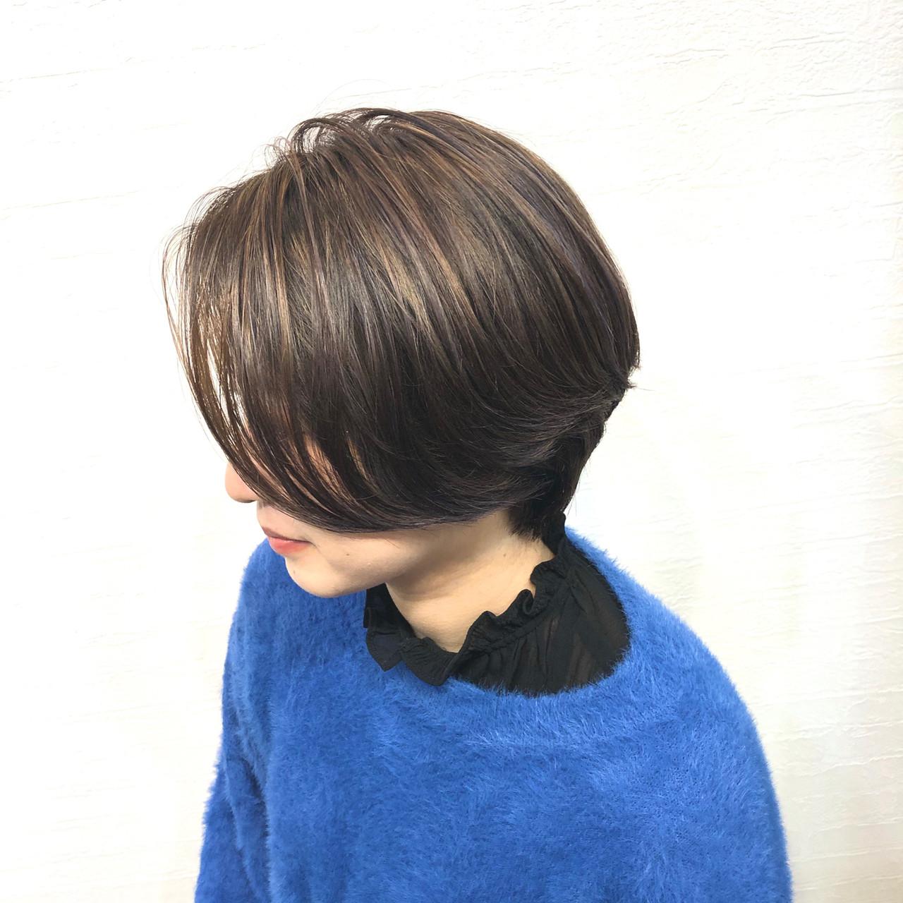 ハンサムボブ ショート ハンサムショート ハイライト ヘアスタイルや髪型の写真・画像