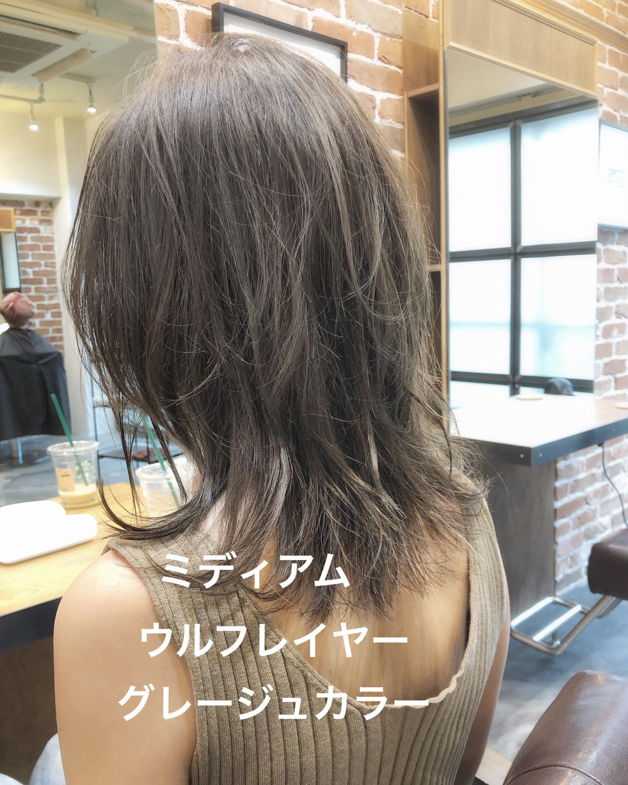 アッシュグレージュ ミディアム モード アッシュベージュ ヘアスタイルや髪型の写真・画像