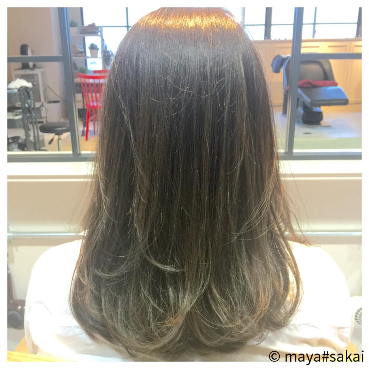 レイヤーカット ストリート セミロング ブリーチ ヘアスタイルや髪型の写真・画像